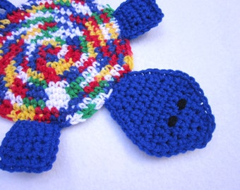 Turtle Pot Holder, Blue Turtle Hot Pad, Colorful Tortoise Trivet, Crochet Turtle Hot Pad, Home Decor, Ocean Theme Bathroom Decor, Mug Rug