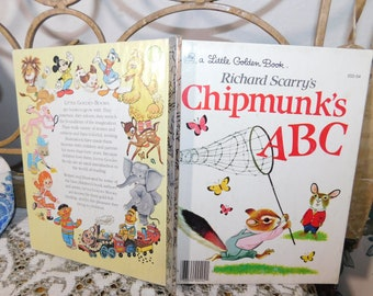 Richard Scarry's Chipmunk's ABC #2 Little Golden Book (Hardcover) 202-54, Vintage Childs Book, Vintage Book, Golden Book
