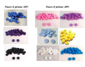 Set of 10 plastic buttons shaped flowers - 2 holes - various colors available