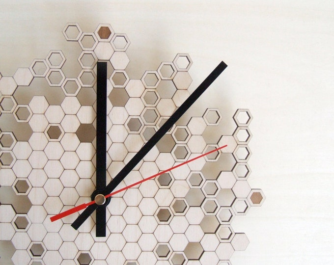Honeycomb Engraved Wall Clock (small)