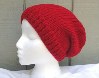 Red slouchy hat - Wool mix red beanie - Teens slouchy beanie - Womens red beanie