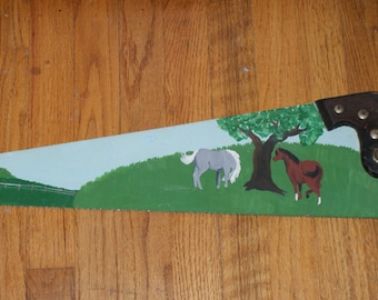 Fab Hand Painted Vintage Saw With Horse Motif