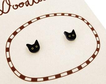 Black Cat Earrings (Tiny), Cat Jewelry, Tiny Earrings, Cat Jewellery, Black Cat Gifts, Halloween Earrings, Halloween Jewelry, Shrink Plastic