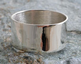 Silver band ring 10mm plain sterling silver band ring handmade choose your size custom made to order 925