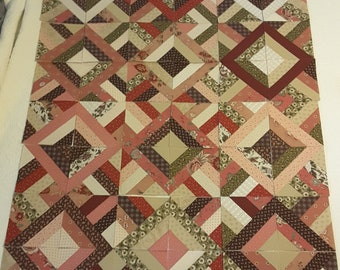 Stunning Quilt Top Blocks with Pinks, Greens and Browns