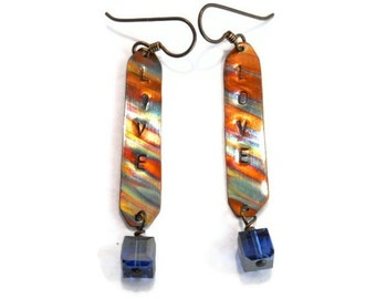 Swarovski Crystal Whimsical Jewelry Copper Earrings Flame Painted Mixed Metal Colorful Hand Stamped Inspirational Dangle