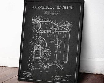 1919 Anesthetic Machine Patent Canvas Print, Anesthetic Apparatus, Medical Patent, Wall Art, Home Decor, Gift Idea, ME01C