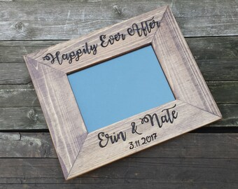 Personalized Wood wedding Picture Frame, photo frame, 5x7 8x10 picutre frame, custom wedding gift, rustic personalized frame, anniversary