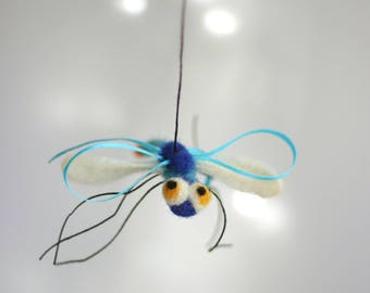 Needle Felted Dragonfly - Needle Felt Animals - Blue Dragonfly Ornament - Miniature - Blue - Spring - Summer - Home Decor - Wool - Handmade