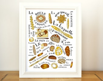 Kitchen Art Home Decor Poster French Breads 11x14 Gourmet foodie food brown typographic print