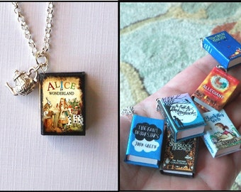 Alice In Wonderland With Little Teapot Charm -Micro Mini Book Necklace