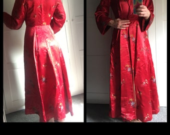 Red Satin Fit and Flare Robe Opera Coat Vintage 1950s
