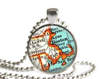 Boston, Massachusetts, Cape Cod Vintage Map necklace pendant charm, Massachusetts jewelry, map jewelry necklace pendant for her, A244