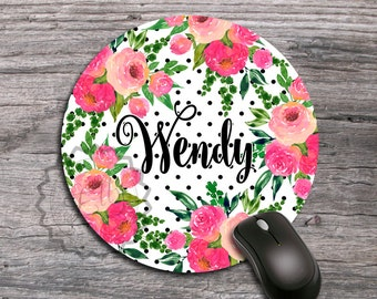 Personalized Mouse Pad-Round Mouse Pad, Floral Mouse Pad, Watercolor Flowers Mouse Pad, Monogram Mouse Pad, Desk Accessories, Office Gift