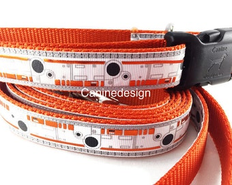 Star Wars Dog Collar and Leash, BB8, 6ft leash,1 inch wide, adjustable, quick release, metal buckle, chain, martingale, hybrid, nylon