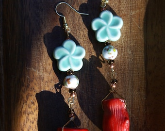 Red coral floral earrings