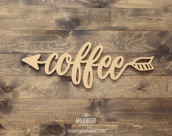 Coffee Arrow Cutout Sign