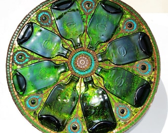 SOLD - Mosaic table, 'light box', upcycled green bottles, peacock feather, mosaic art
