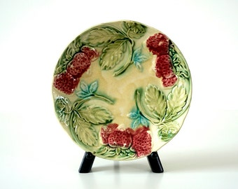 Antique French Majolica Strawberry Dessert Plates - Set of 3 - Pink & Green Fruit and Foliage Pattern