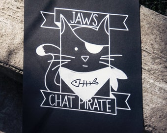 "Screen print 8 x 10 ""'Jaws the cat Pirate"" - limited edition print - white on black paper"