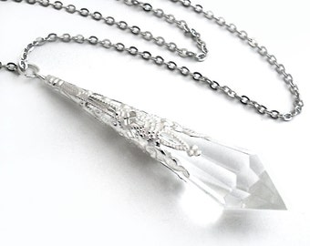 Crystal Clear Prism Silver Filigree Pendant Necklace