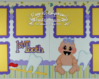Scrapbook Page Layout Baby Girl First Tooth 2 page Scrapbook Completed Layout 133