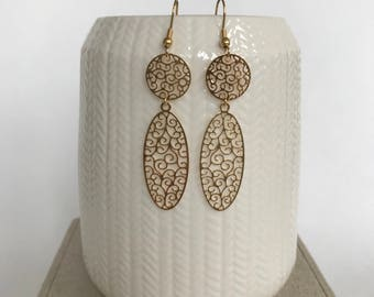 Pieces gilded with fine gold filigree earrings