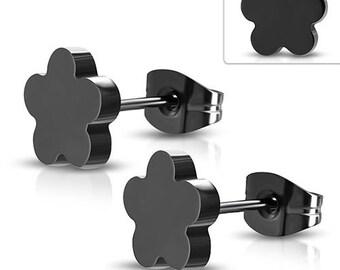 Earrings, Earstuds Black Flowers Stainless Steel 316L