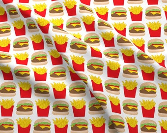 Burger and Fries Fabric - Cheeseburgers-And-Fries By Lilcubby - Cheeseburger French Fry Fast Food Cotton Fabric By The Yard With Spoonflower