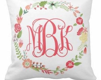 Monogrammed Wreath Pillow