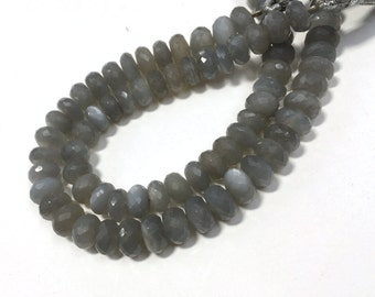 "AAA grey moonstone faceted rondelle loose gemstone 8""inches 7mm-8mm strand , gray moonstone faceted rondelle beads"