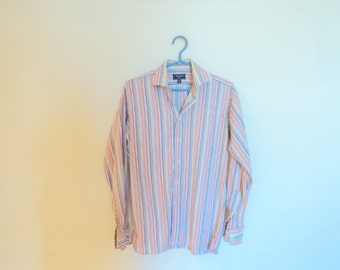 Shirt for men, 100% cotton. Vintage mens clothing. Striped shirt couleusr pastel.s