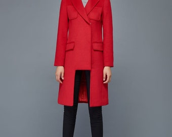 Red wool coat, geometric coat, modern women coats, tailored coat, asymmetrical coat, womens jackets, winter warm coat, mid length coat C979
