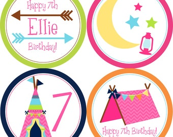 Glamping Party Circles - Glamping Tent Arrows Teepee, Girls Camp Out Glamping Personalized Birthday Party Circles - A Digital Printable File