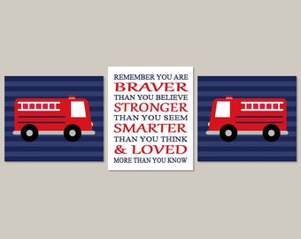 Fire Truck Wall Art Prints Or Canvas Fire Truck Nursery Decor Boy Nursery Art You Are Braver Fire Engine Fireman Set of 3