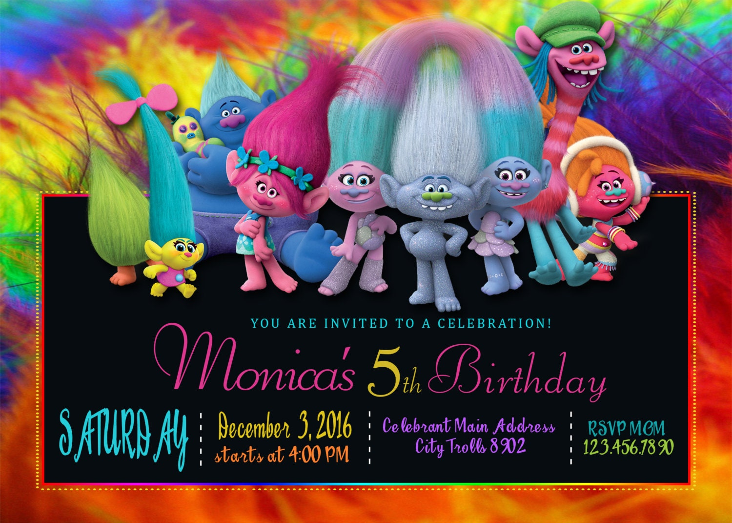 It is a photo of Accomplished Printable Trolls Birthday Invitations