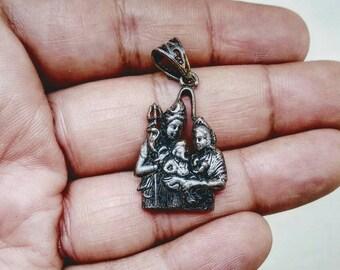 Shiva Parvati Ganesha Solid Silver Hindu God Shiva, mahadev, Cosmic, Shiv, Rudra, bholeynath Pendant Necklace, kali, yogini, devini feminine