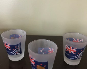 """Set Of Three (3) New Zealand Frosted Shot Glasses* 2.5"""" T X 2"""" W"""