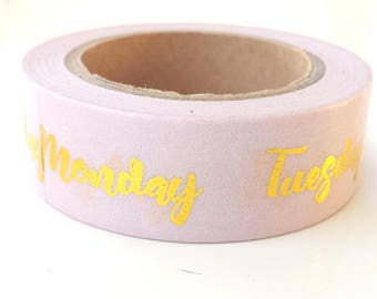 Light pink gold foil washi tape - days of the week