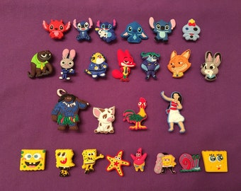Shoe Charms for Crocs, Silicone Bracelet Charms, Party Favors, Jibbitz  - Moana, Zootopia, Lilo and Stitch, Spongebob SquarePants