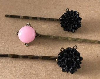 Black and Pink Flower Bobby Pins, Hair Pins, Set of Hair Pins, Hair Accessories