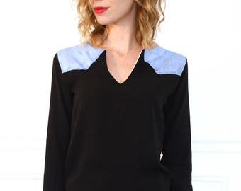 black and sky blue blouse long sleeve Scoop Neck / / military cuts