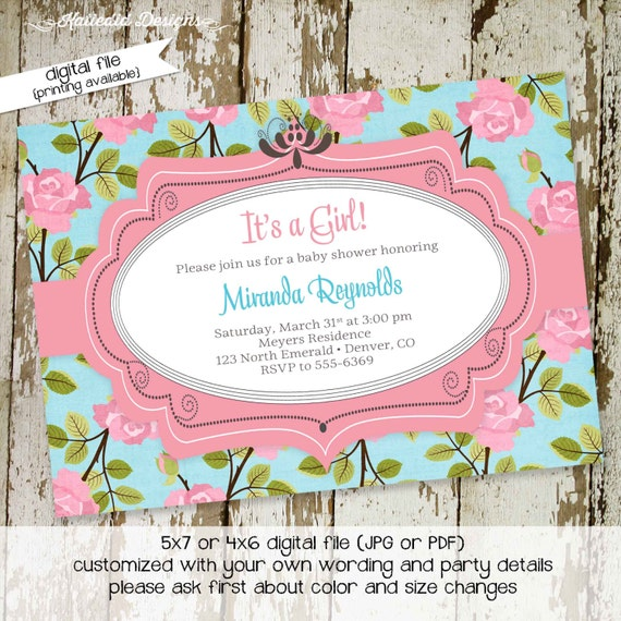 floral christening invitation floral chic invite co-ed baby shower diaper wipe brunch shabby chic it's a girl blessing 1350 katiedid designs