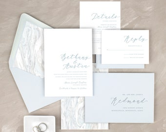 dusty blue wedding invitations modern wedding invitation suite slate blue invitation sets pale blue printed invitations light blue wedding