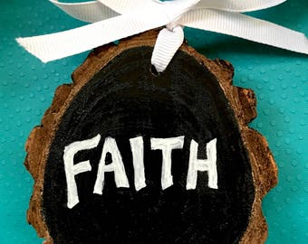 FAITH / Candle - Hand Painted Christmas Ornament on Wood Slice