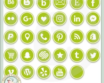 Social Media Icons ROUND GREEN