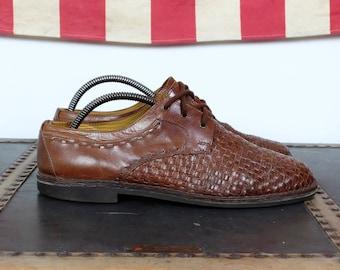1990's Kebo Shoe Company Handmade Italian Braid Leather Shoes // Retro // Miami Vice // Yuppie Style // Men's Size UK9,5 US10,5 EUR43,5