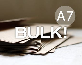"BULK! 100 5x7 Kraft Envelopes - A7 Kraft Brown Envelopes  (true size 5 1/4"" x 7 1/4"") Kraft Brown Recycled Envelope - Wedding Envelopes"