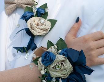 Book Page Rhinestone Bracelet Wrist Corsage and Boutonniere Set