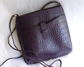 Vintage 1980s Plum Purple Embossed Leather Small Crossbody Bag, Small Purse, Leather Cross Body Purse Adjustable Purple Leather Square Purse